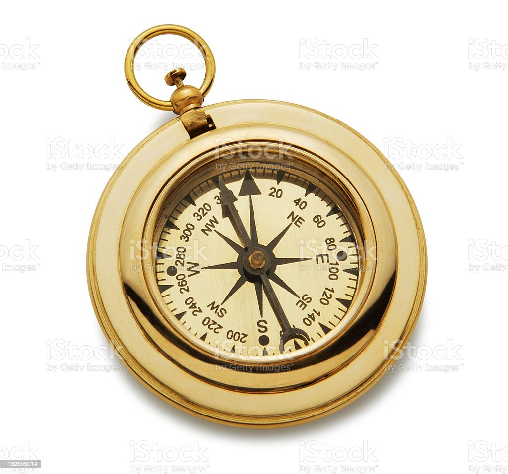 Gold Compass On A White Background royalty-free stock photo