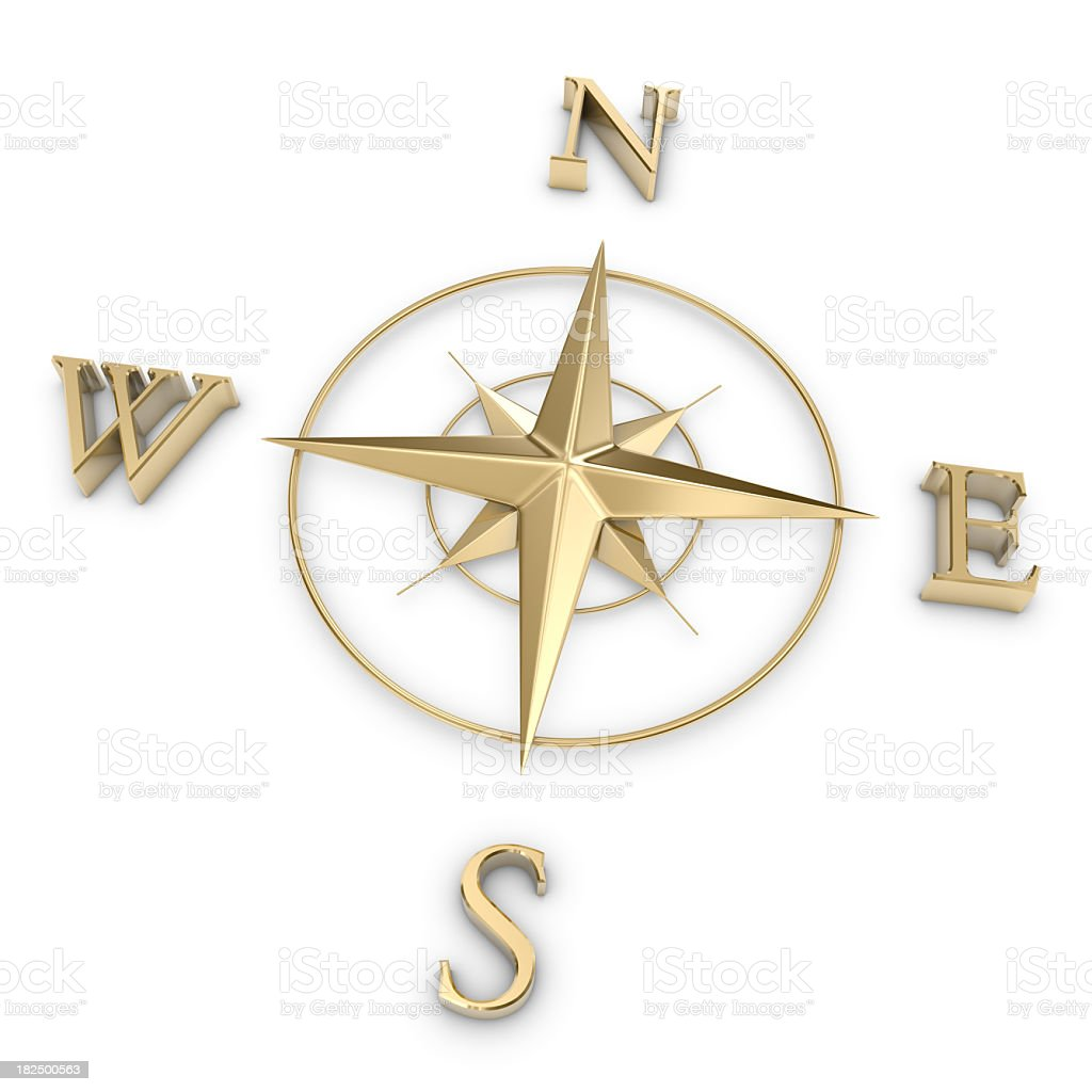 Gold Compass Rose stock photo