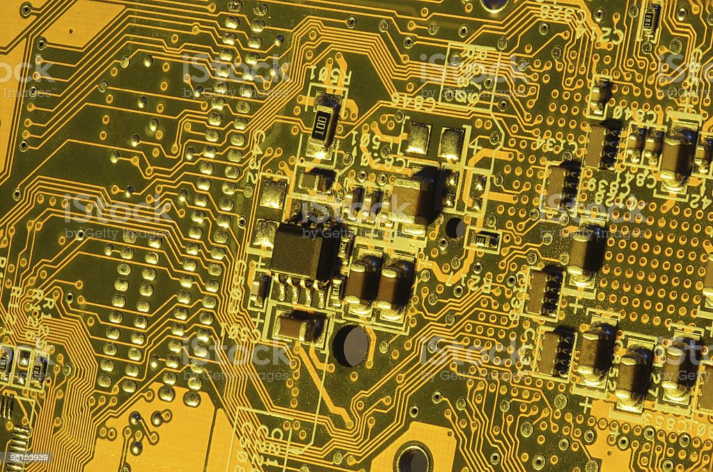 Gold Computer Electronics stock photo
