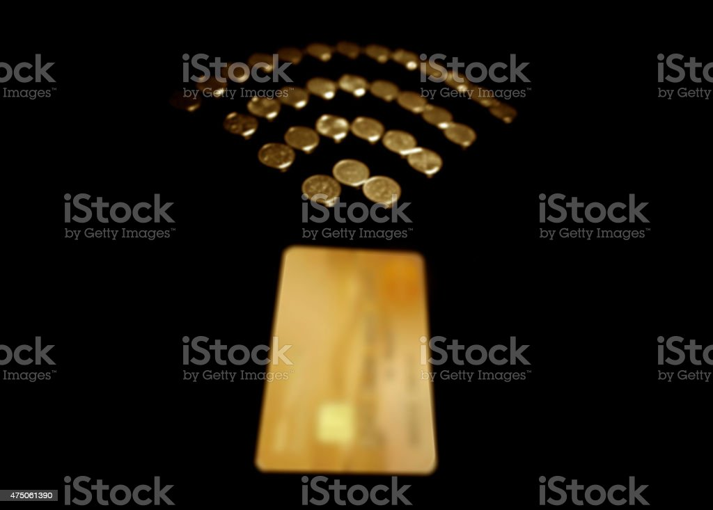 Gold contactless payment stock photo
