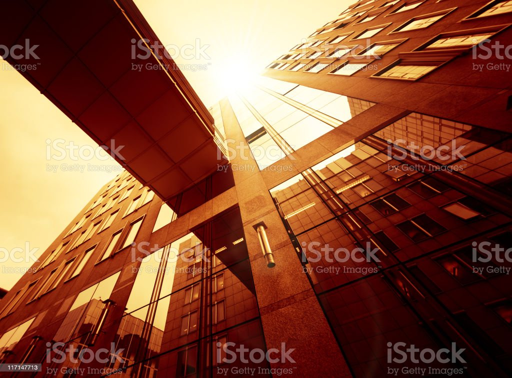 Gold Contemporary building facade architecture royalty-free stock photo