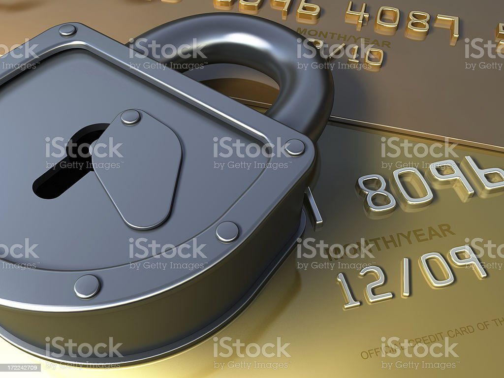 Gold credit card and lock royalty-free stock photo