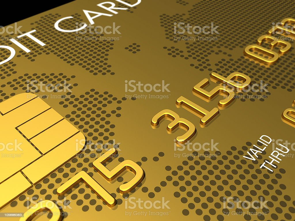 Gold credit card, macro 3D render stock photo