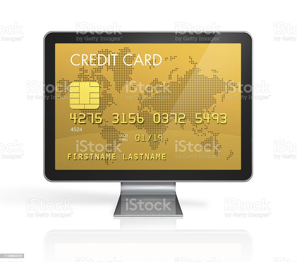 gold credit card on a computer screen royalty-free stock photo