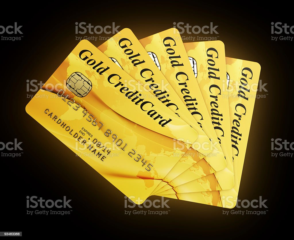 Gold Credit Cards royalty-free stock photo