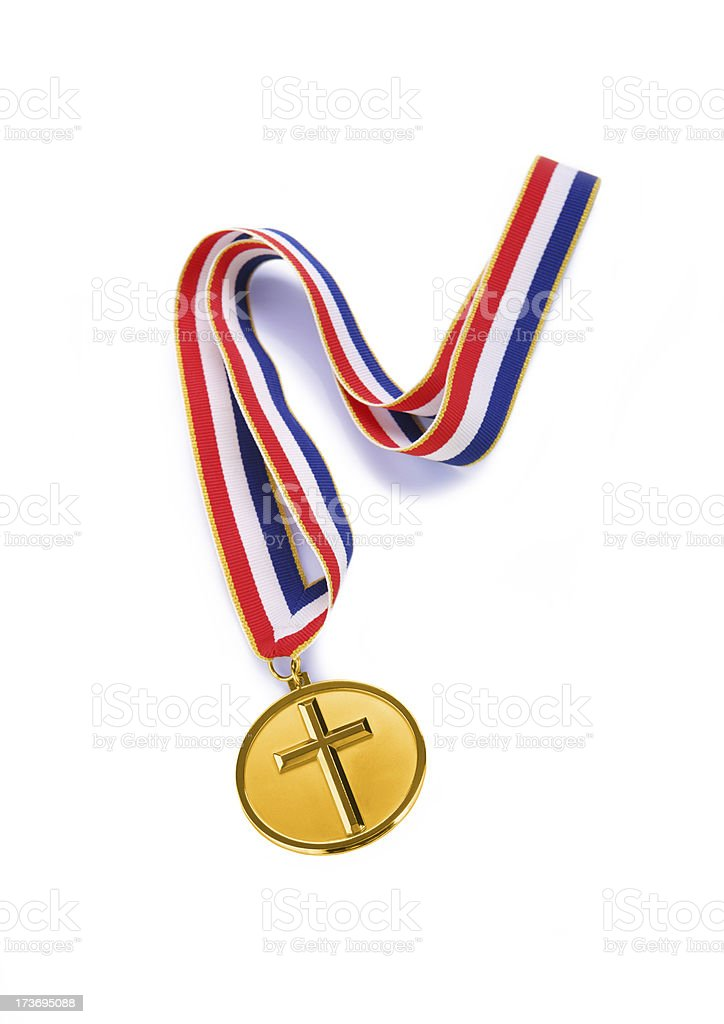 Gold Cross Medal royalty-free stock photo