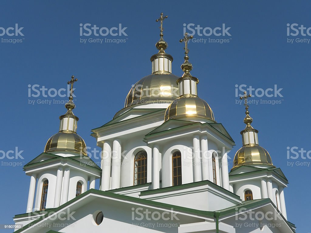 Gold crosses and domes of church royalty-free stock photo