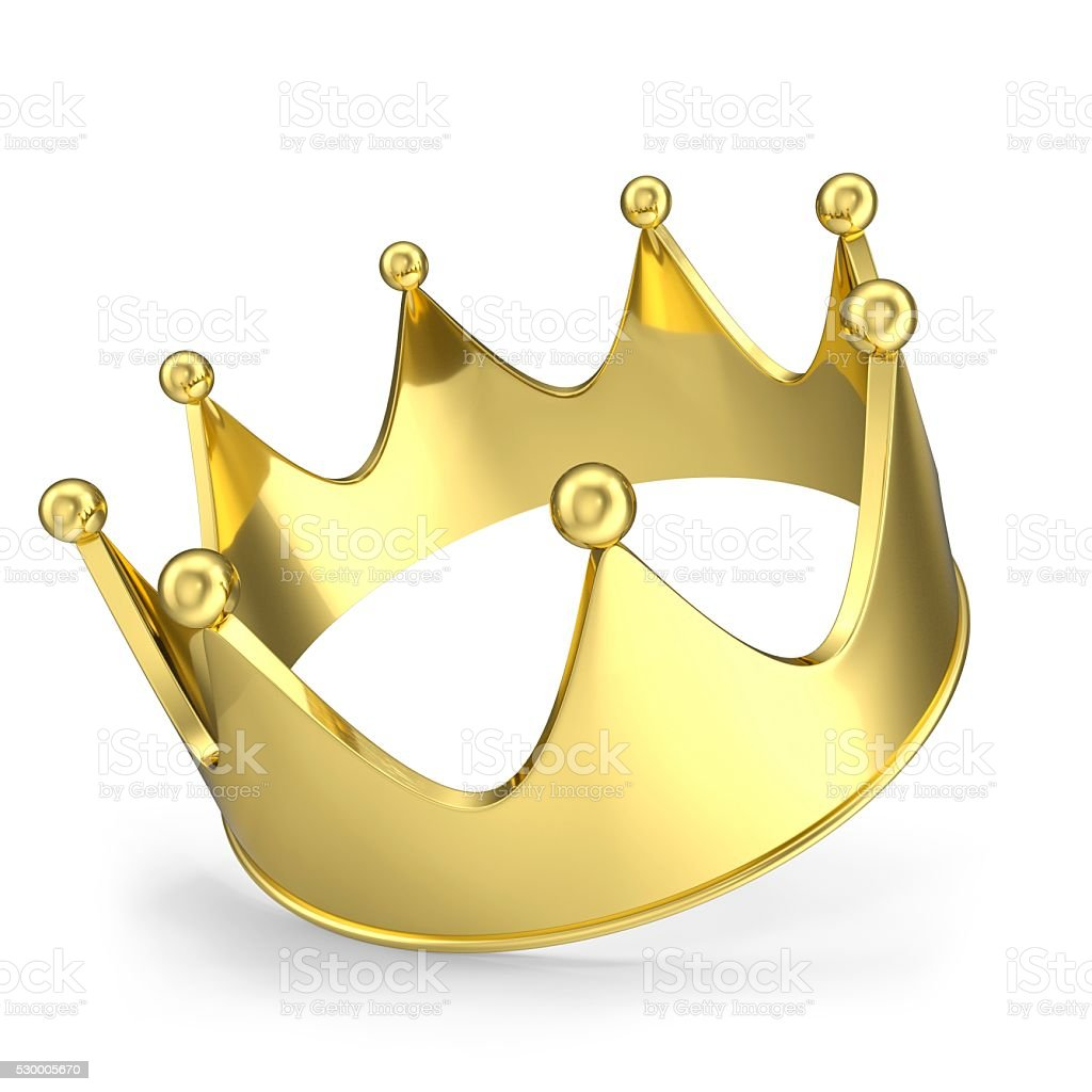 Gold crown with glow isolated on white background. 3d illustration stock photo