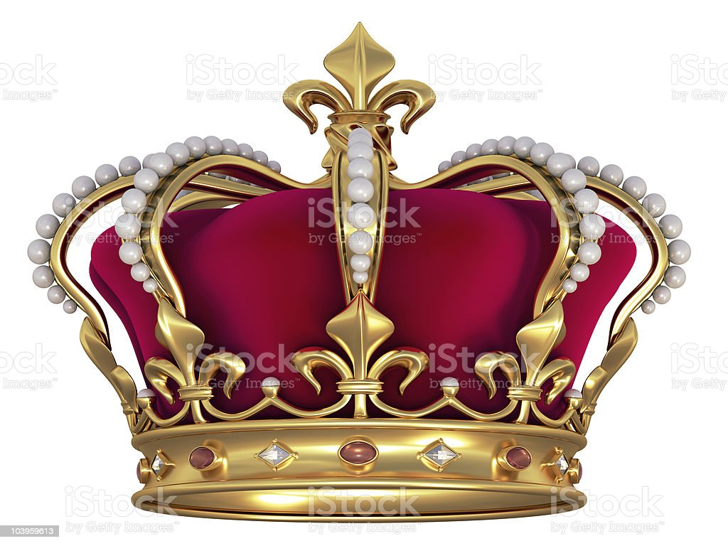 Gold crown with jewels vector art illustration