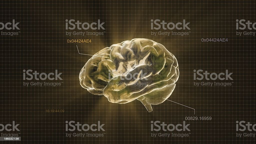 gold crystal brain timecode stock photo