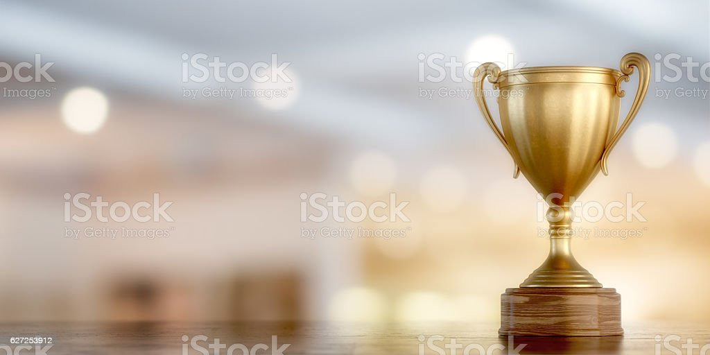 gold cup winner stock photo
