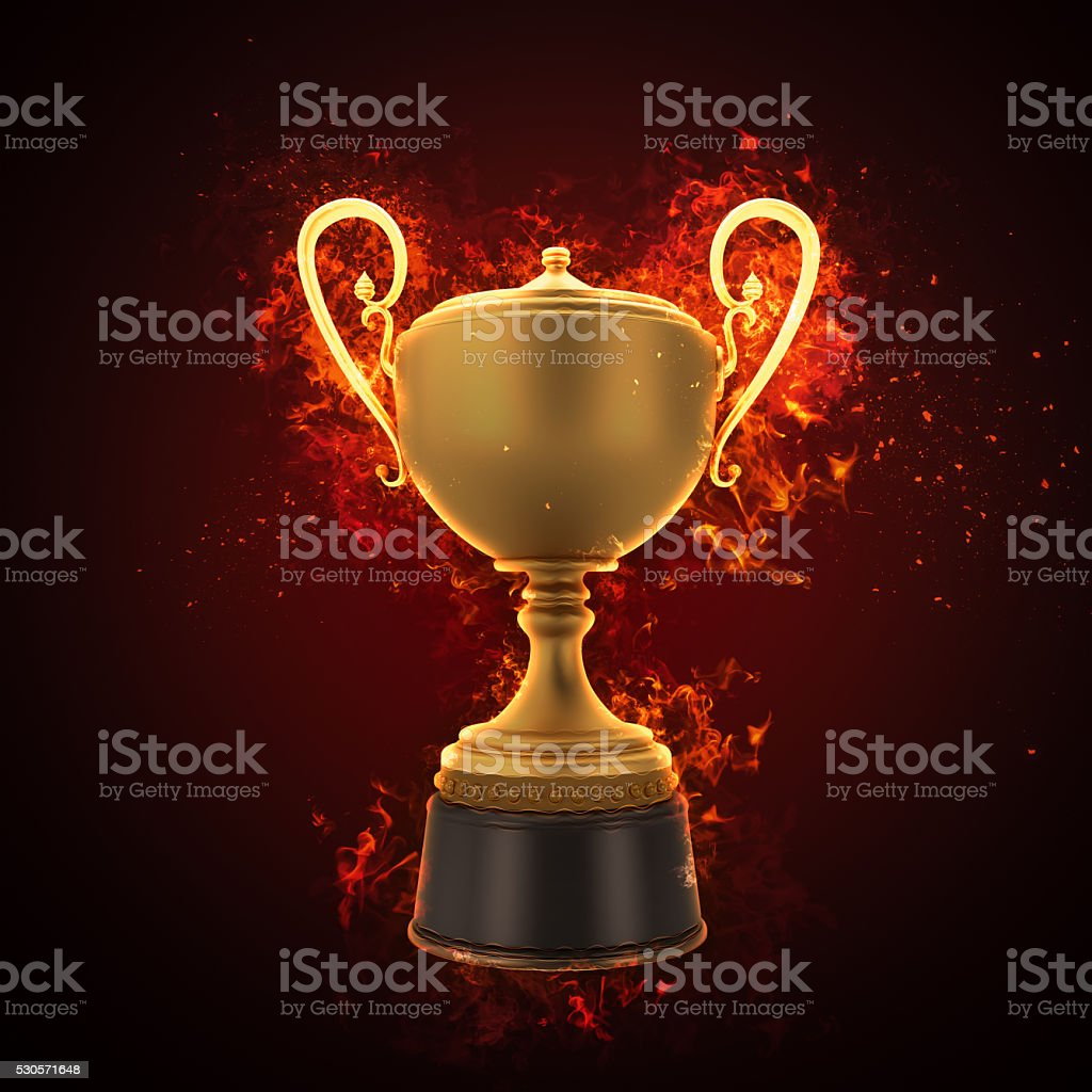 Gold cup winner trophy stock photo