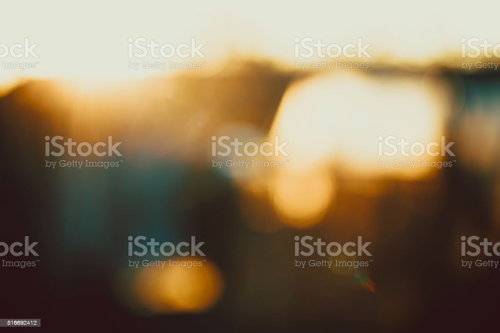 Gold desert in sunset, abstract bright blur background stock photo