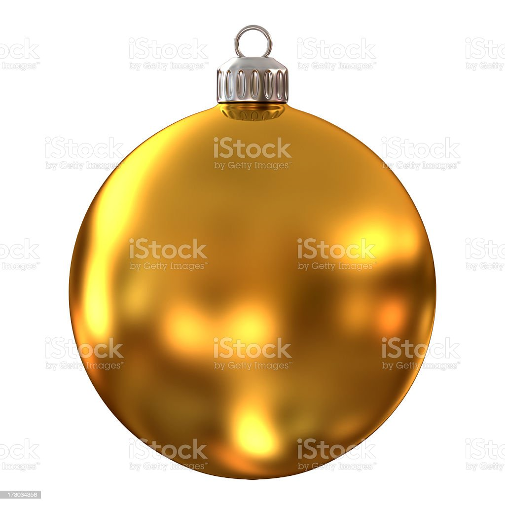 Gold, diffused Christmas ornament on a white background stock photo
