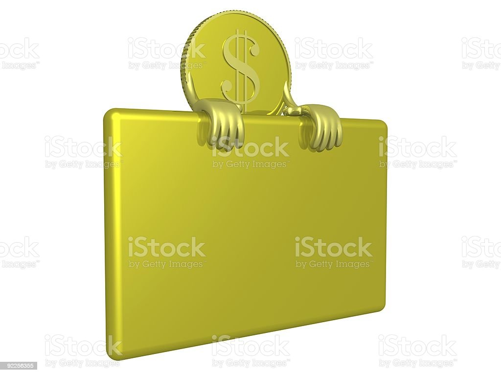 Gold dollar a holding banner. 3D image. royalty-free stock photo