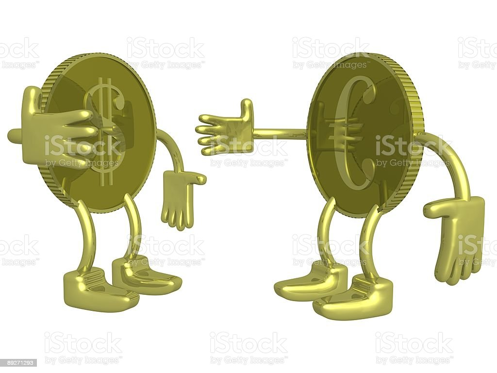 Gold dollar and euro. A coin. 3D image. royalty-free stock photo