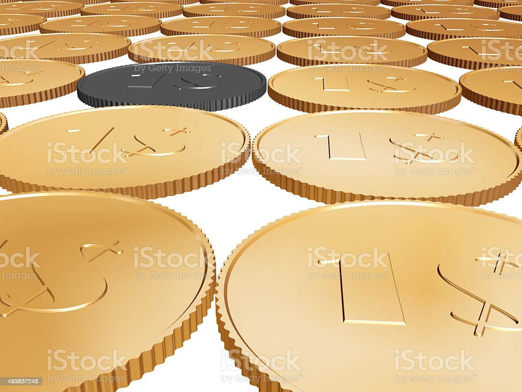 gold dollar coin carpet on white background stock photo