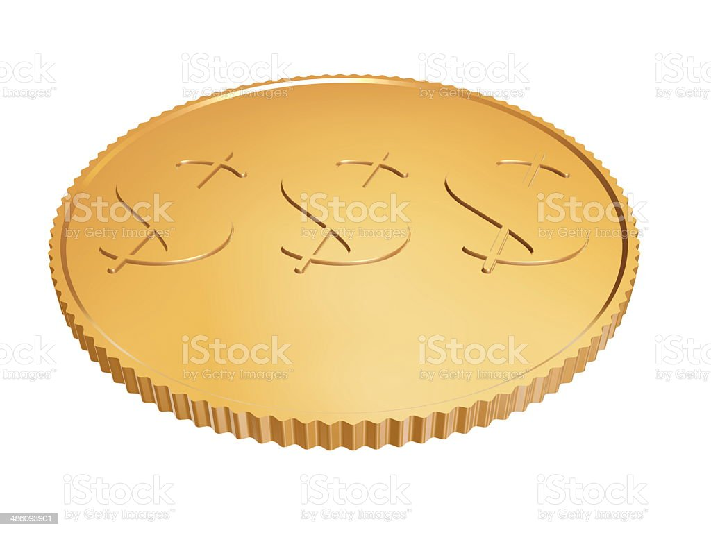 gold dollar coin on white background stock photo