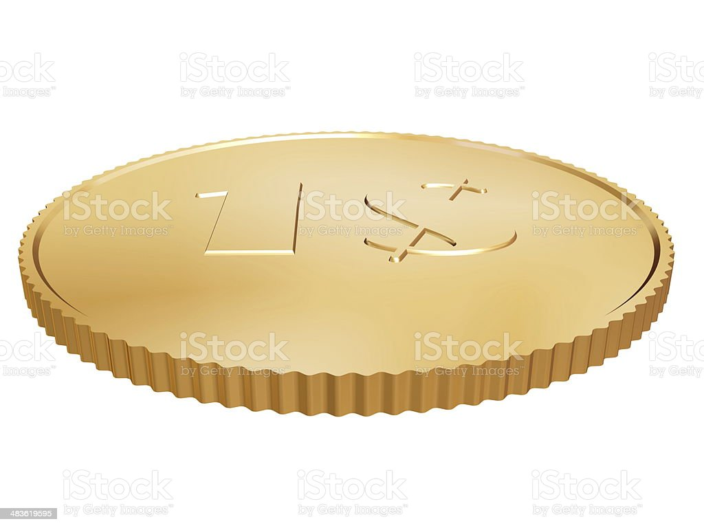 gold dollar coin on white royalty-free stock photo