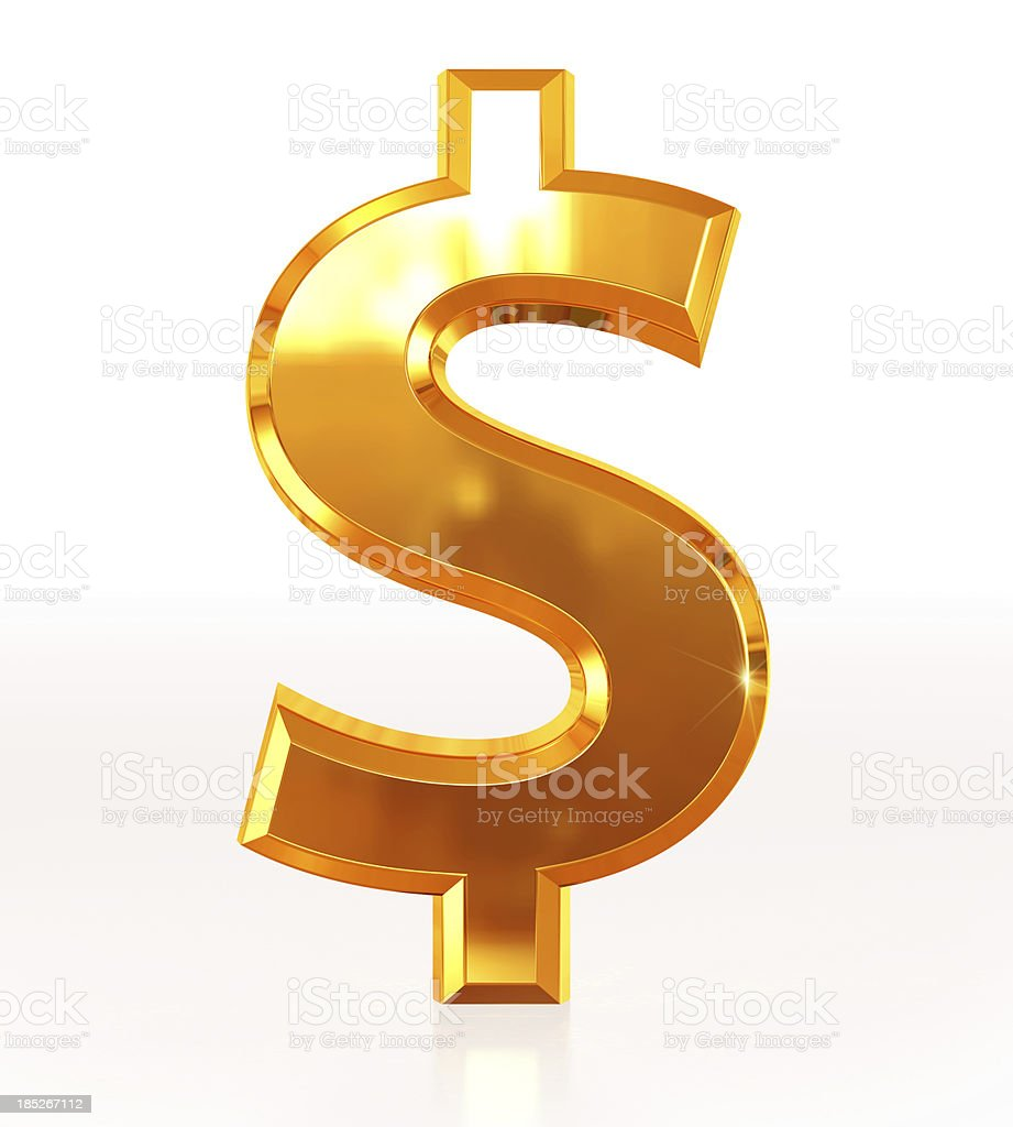 Gold Dollar Symbol stock photo