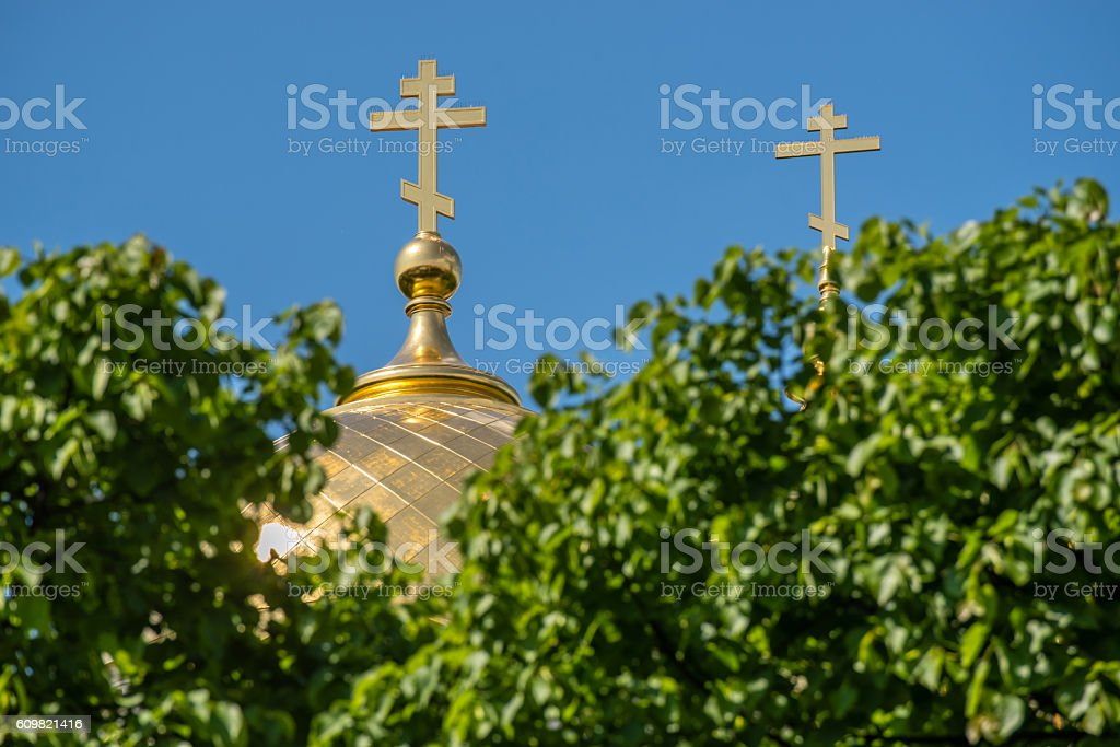 Gold Dome and Crosses Russian Orthodox stock photo