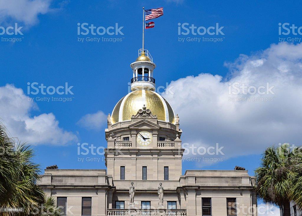 Gold Dome City Hall - Savannah, Georiga stock photo