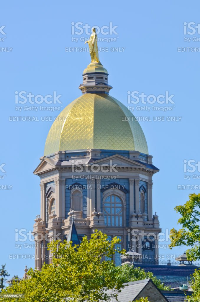 Gold Dome of Main Building at University of Notre Dame stock photo