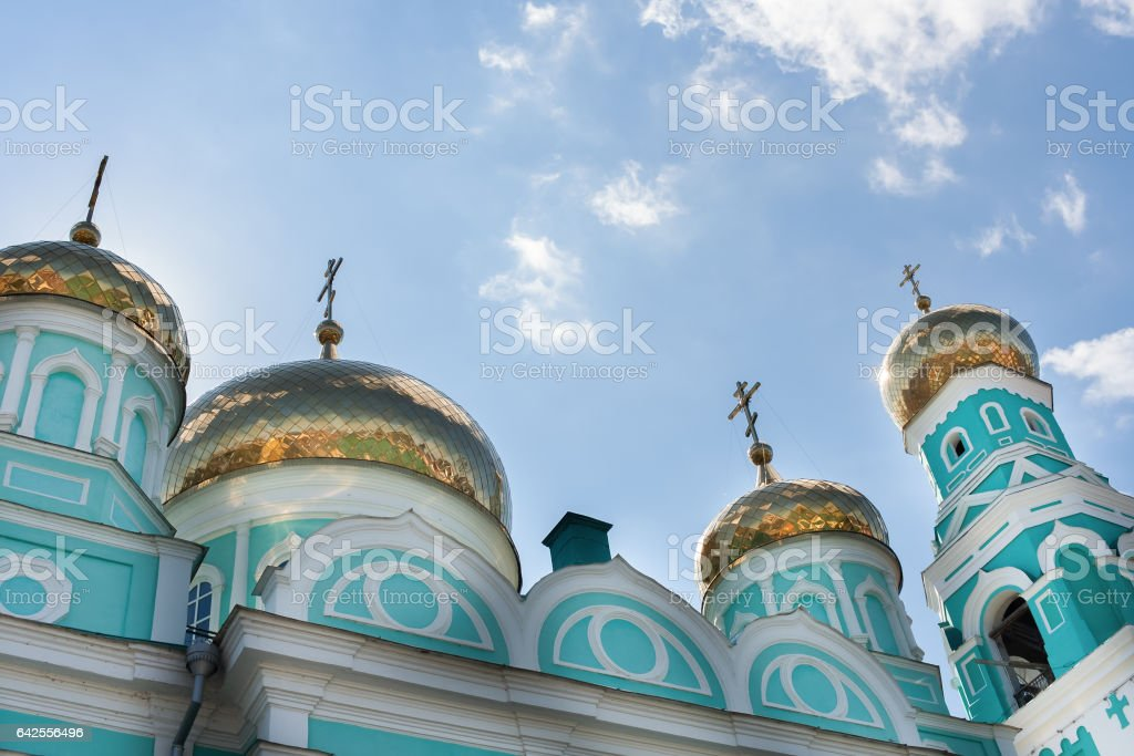 Gold domes of Church of the Kazan Icon of the God Mother of Syzr stock photo