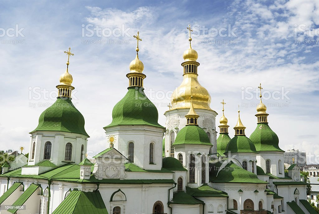 Gold domes of Saint Sophia Cathedral in Kyiv royalty-free stock photo