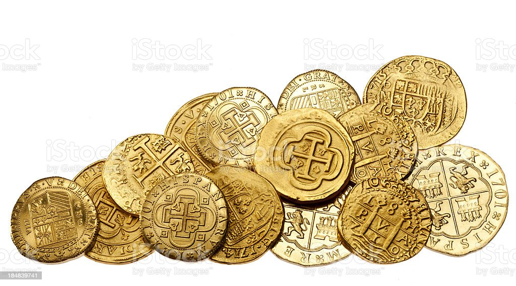 Gold Doubloons on White Background stock photo