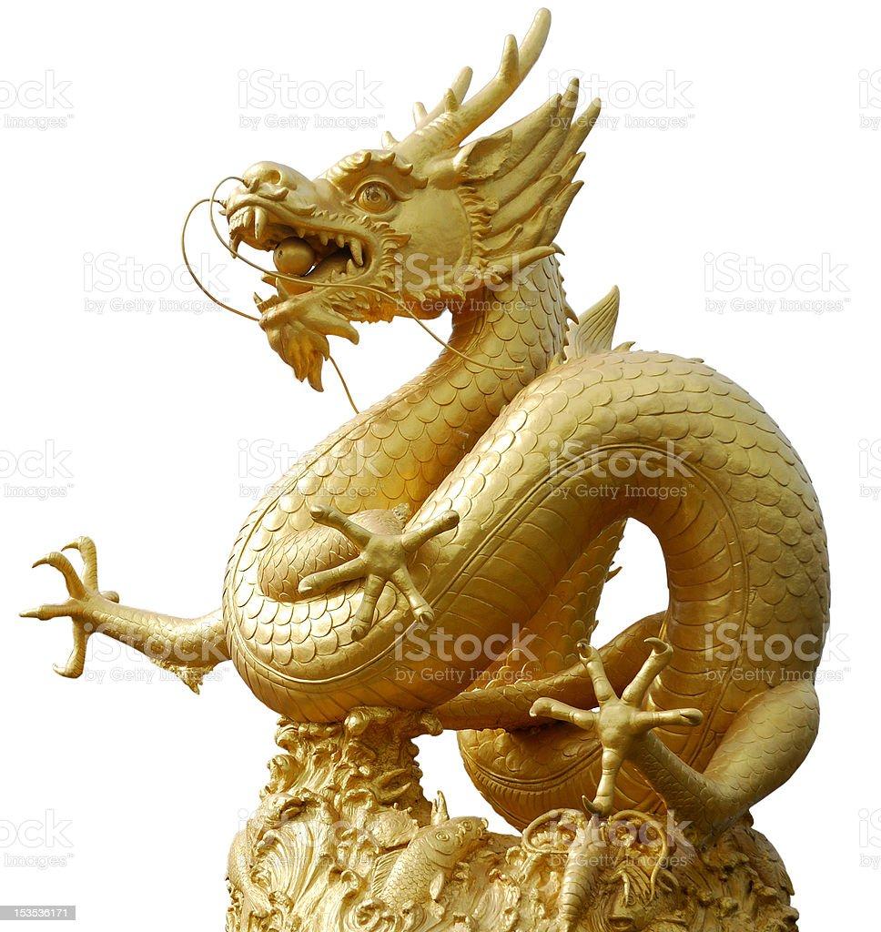 Gold Dragon Sculpture stock photo