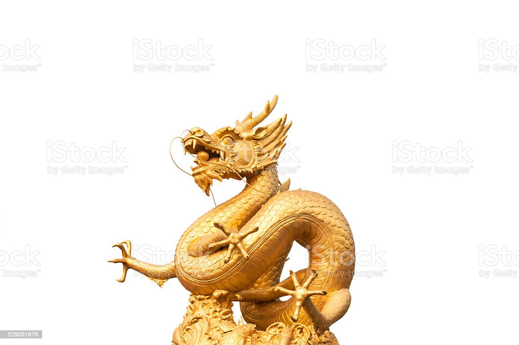 Gold dragon statue isolated stock photo