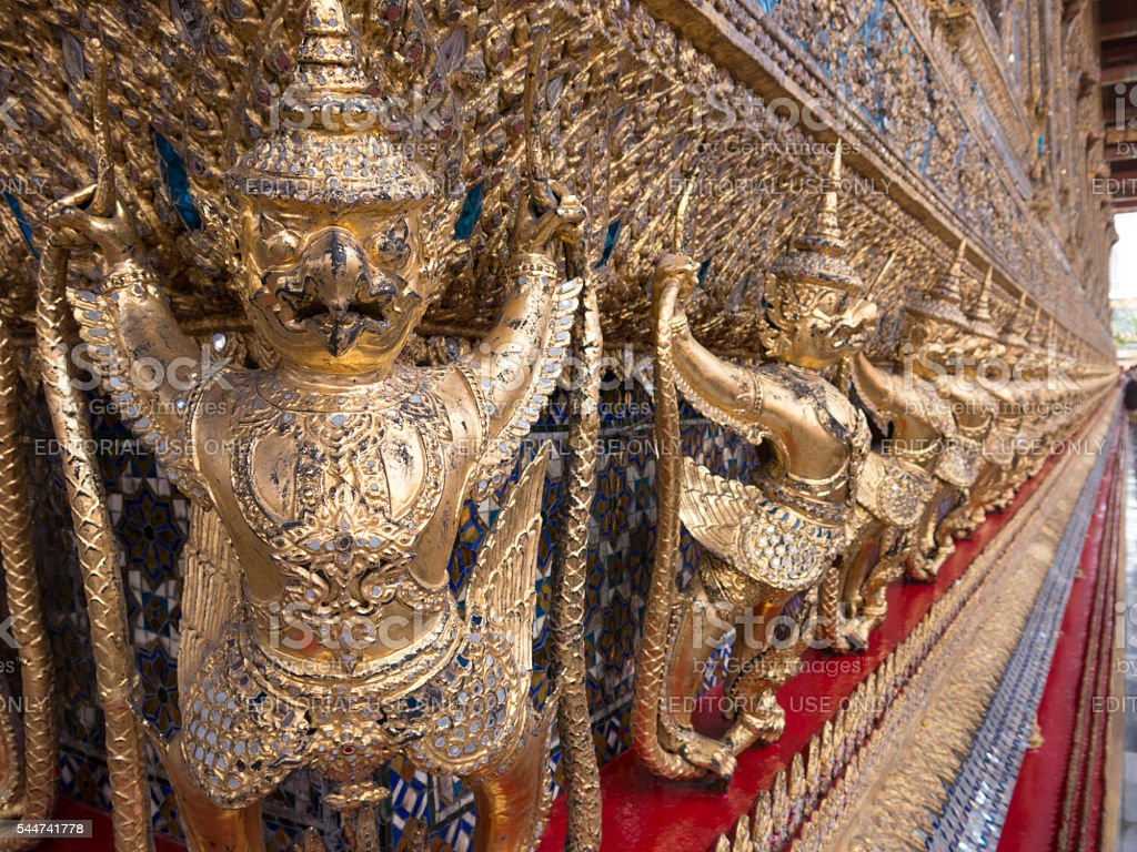 Gold Dragon Statues Buddhist Temple Thailand stock photo