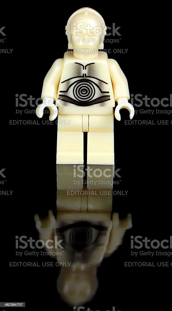 Gold Droid on Black stock photo