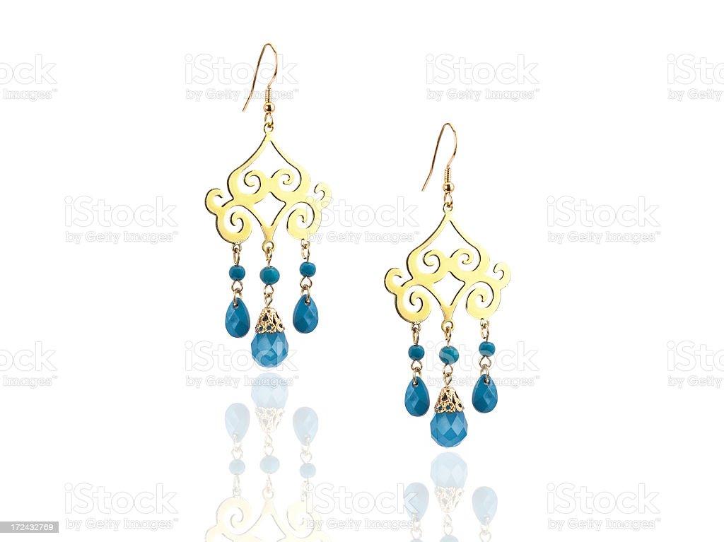Gold Earrings stock photo