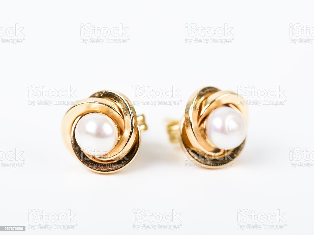 Gold Earrings With Pearls stock photo