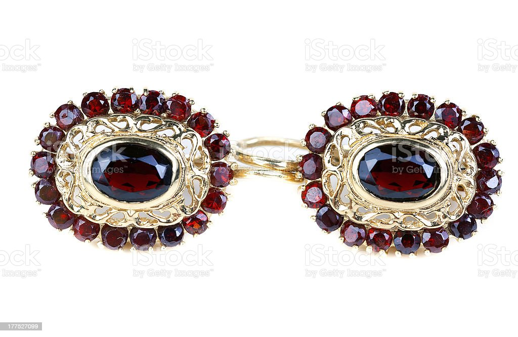 gold earrings with ruby royalty-free stock photo