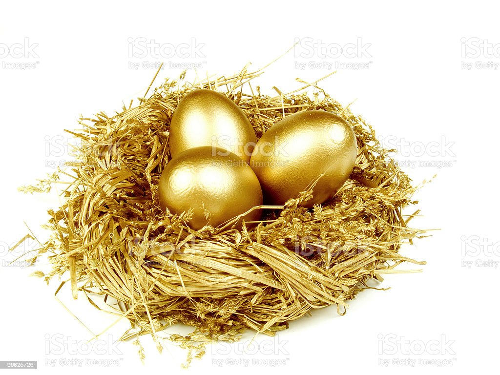 Gold egg in the golden nest royalty-free stock photo