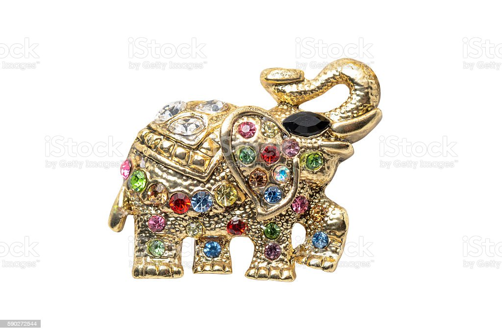 gold elephant brooch isolated on white stock photo