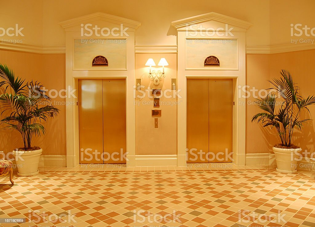 Gold Elevators stock photo