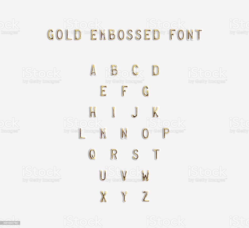 Gold embossed alphabet isolated, 3d illustration stock photo