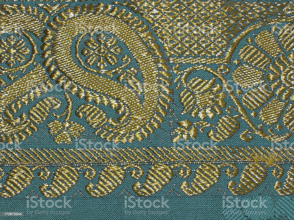 Gold Embroidery on Green Silk stock photo