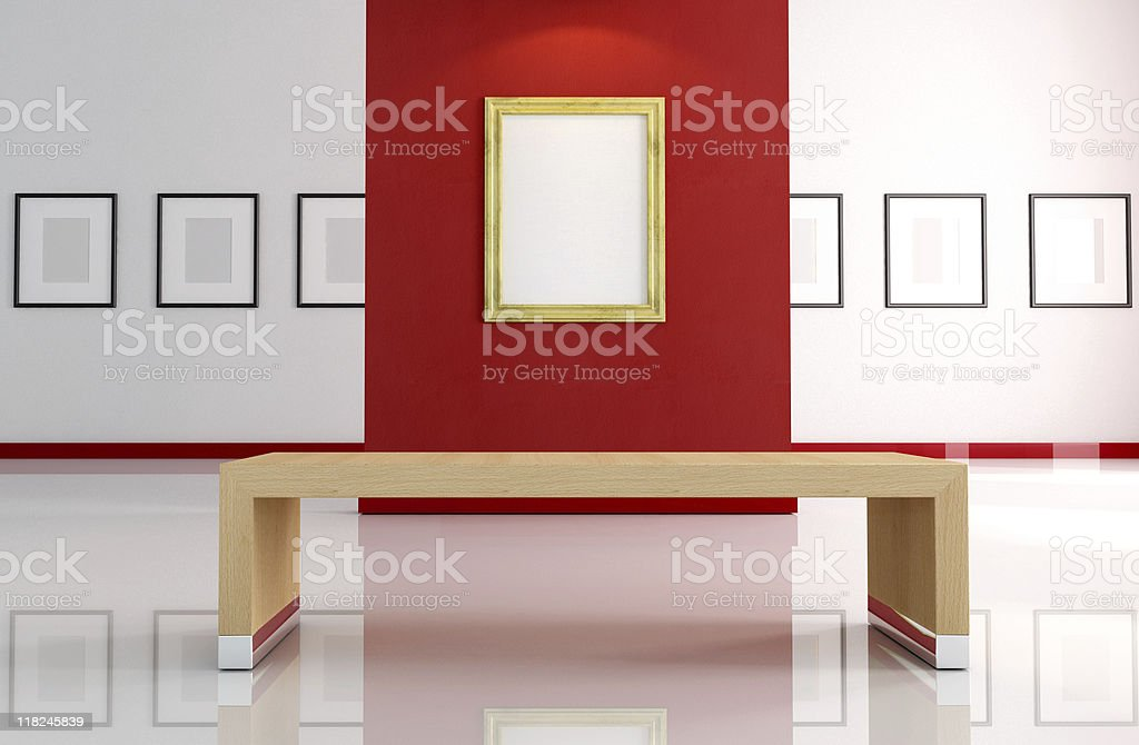 gold empty frame on red wall stock photo