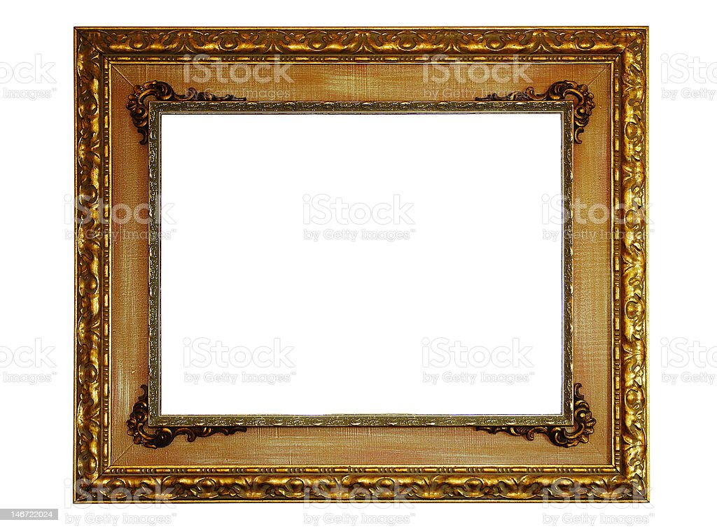 Gold empty picture frame royalty-free stock photo
