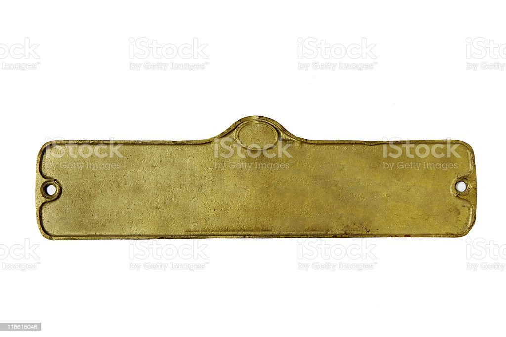 A gold, empty plate on a white background stock photo