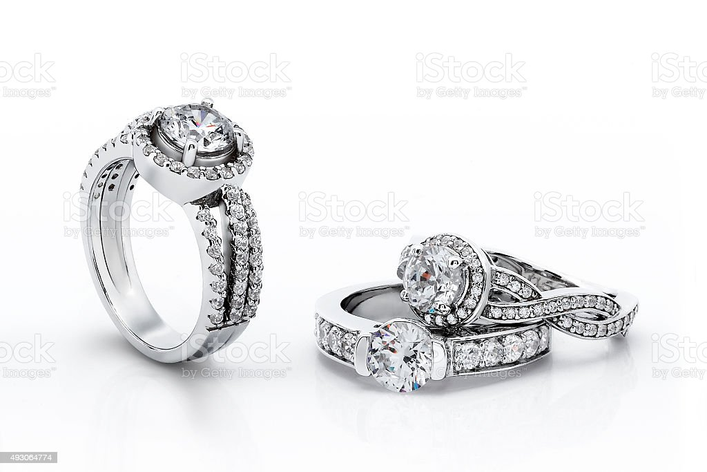 Gold Engagement Diamond Rings stock photo