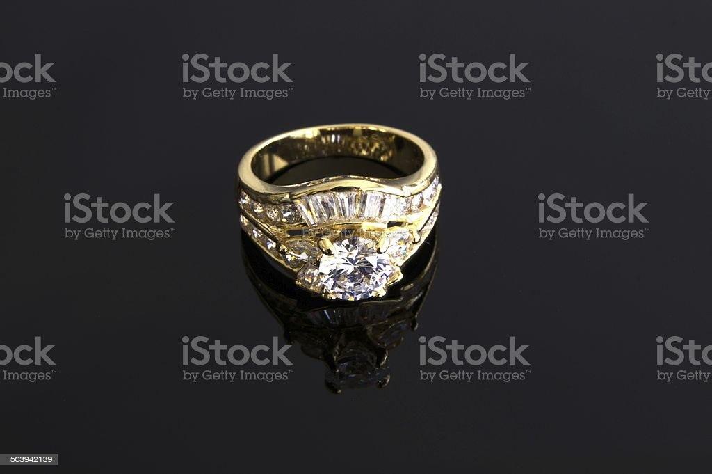 Gold engagement ring royalty-free stock photo