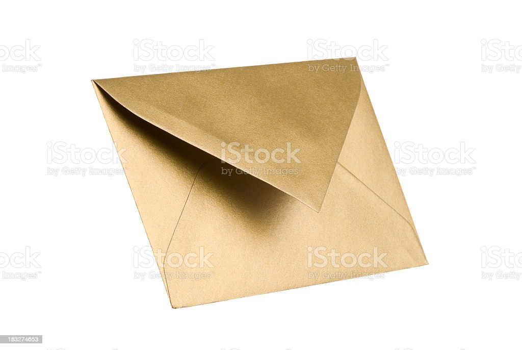 Gold envelope with clipping path stock photo