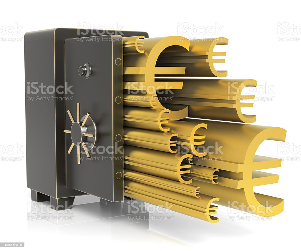 Gold Euro signs flowing out safe royalty-free stock photo