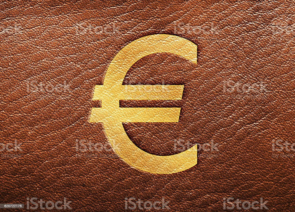 Gold Euro Symbol on Brown Leather stock photo